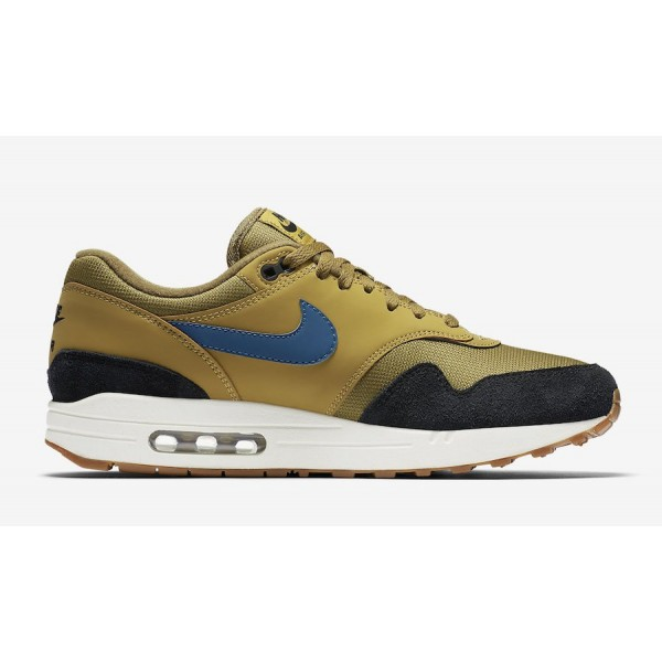AH8145-302 Nike Air Max 1 Golden Moss Black Men Shoes