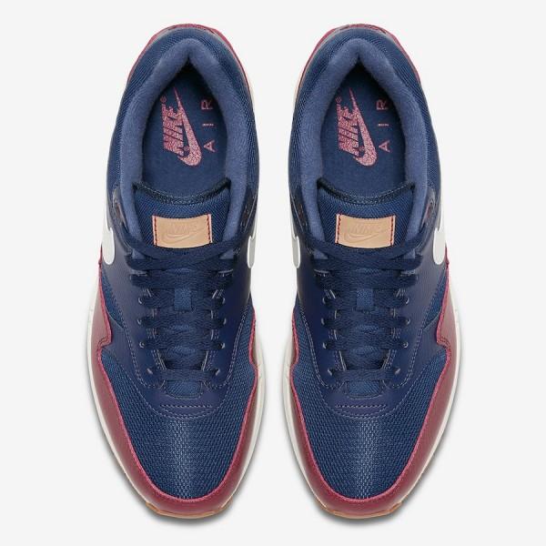 AH8145-400 Nike Air Max 1 Premium Blue Red Men Shoes