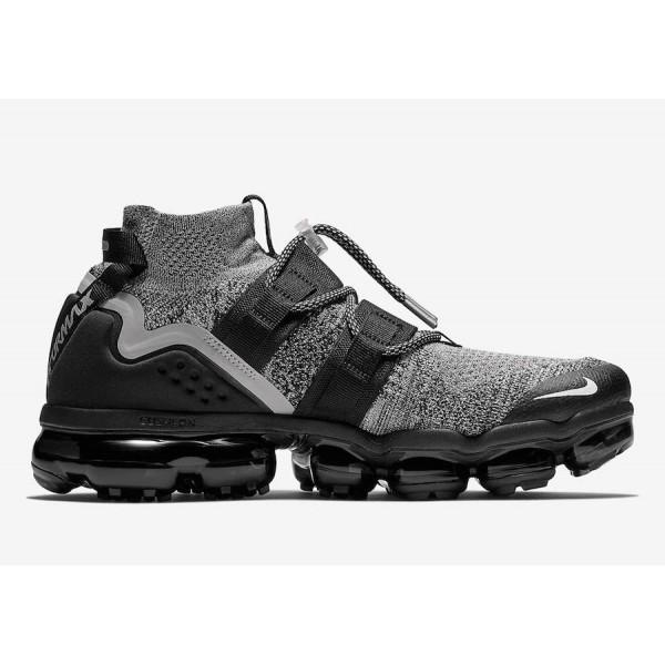 AH6834-201 Nike Air VaporMax Flyknit Utility Moon Particle Black Men Shoes