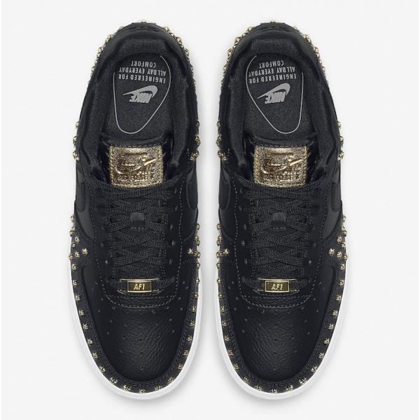 AR0639-001 Nike Air Force 1 Low Black Metallic Gold Women Shoes