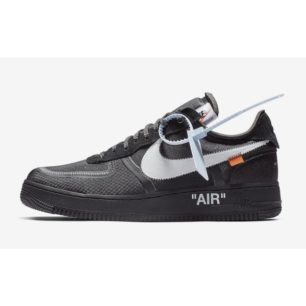 AO4606-001 Off-White x Nike Air Force 1 Low Black White Shoes