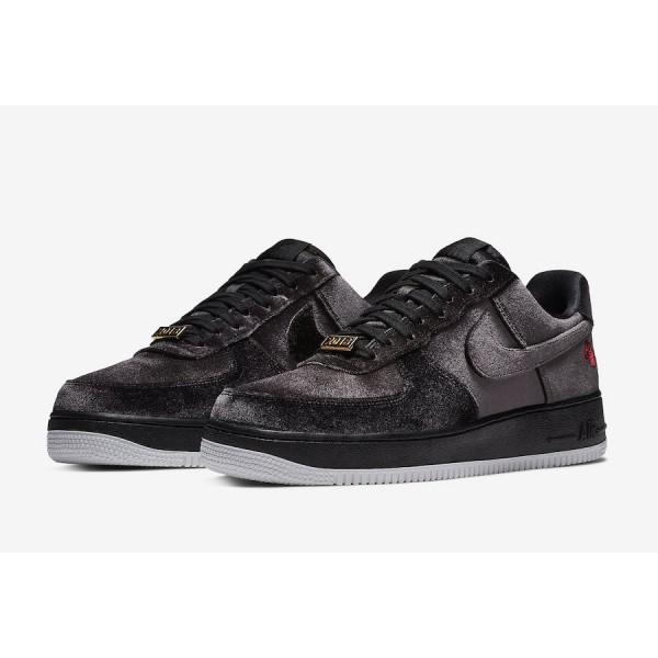 "AH8462-003 Nike Air Force 1 ""Satin"" Black White Shoes"