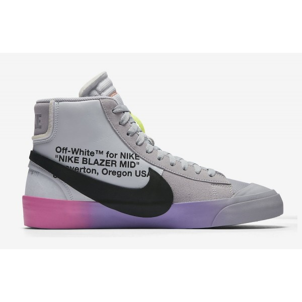 "AA3832-002 Off-White x Nike Blazer Mid ""Queen"" Wolf Grey Volt Shoes"