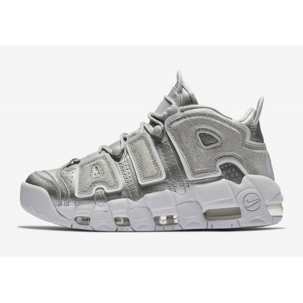 917593-003 Nike Air More Uptempo Metallic Silver White Women Shoes