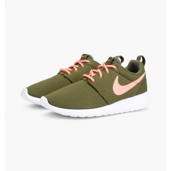 Nike Women Roshe One Pink Green Shoes 511882-306