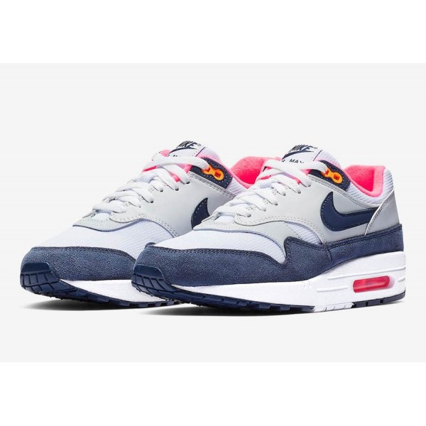 319986-116 Nike Air Max 1 Midnight Navy Pink Women Shoes
